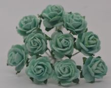 1.5cm AQUAMARINE CYAN GREEN Mulberry Paper Roses